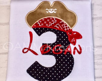 Personalized Mickey Mouse Pirate Birthday Number with a Bandana and Pirate Hat Applique Shirt for Boys