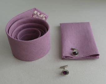 Lilac Linen Neckties, Bowties- Purple, Lavender Linen Necktie- Men's Tie- Wedding Ties- Groomsmen  Neckties