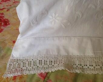 Antique Edwardian Pillowcase, Antique Bed Linen, Hand Embroidery, Crochet Lace, VBL21