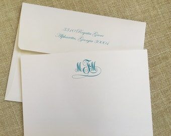 Personalized notecards with a Beautiful Monogram. Heavy textured card stock. Includes envelopes. Stationery. Mothers Day. Graduation.