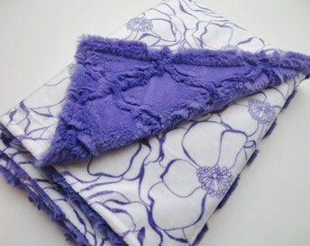 Purple and White Floral Minky Baby Blanket - Made to Order
