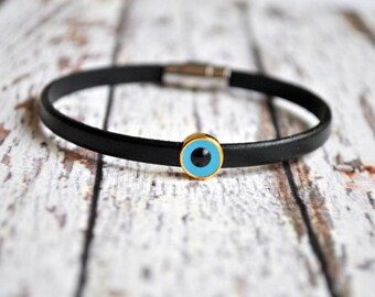 Evil eye leather bracelet | Armenian jewelry | evil eye  bracelet | evil eye wristband | lederarmband | pulsera cuero | Horus eye bracelet