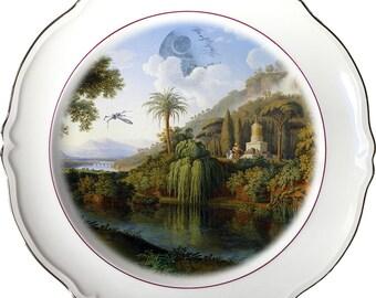 Death Star Landscape - R2D2 - C3PO - Star Wars - Vintage Porcelain Plate - #0485