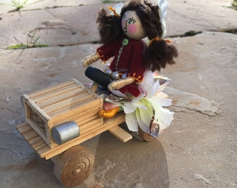 Sweet Pea the Fairy and Her Soap Box Car - Bendable Fairy and Toy