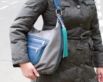 GRAY LEATHER  Hobo BAG, Blue Leather Shoulder Bag, Soft Leather Purse, Leather Slouchy Bag, Leather Hobo Bag, Everyday Leather Bag