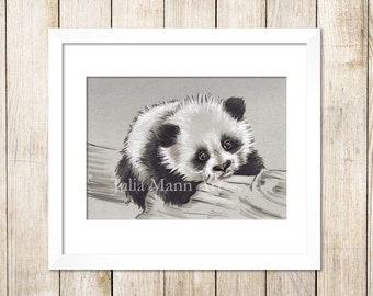 Panda baby Art Print, Panda cub Drawing, Panda Art, Ready to Frame, Unframed Art Print, Wildlife Art, Animal Drawing, Nursery Art