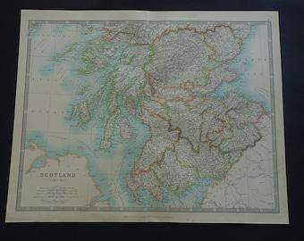 """SCOTLAND antique map of Scotland large 1921 original old map Edinburgh Schotland vintage poster - vieille carte de l'Ecosse - 36x45c 14x18"""""""