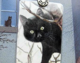 Bookmark   Black Cat on a tree