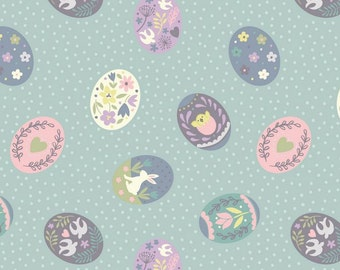 Lewis & Irene Salisbury Spring Patchwork Quilting Fabric A208.1 Painted eggs on duck egg blue