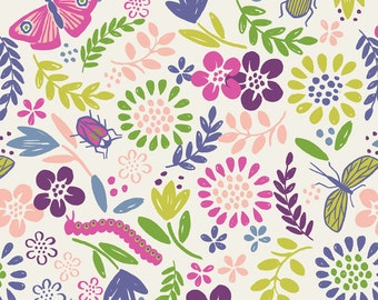 A82-2 Mini Beast Garden Lewis & Irene 'DISCOUNTED Price' Our Friends in the Garden  Patchwork Quilting Fabric
