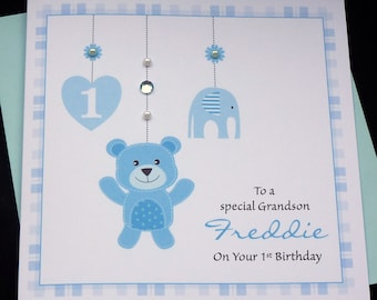 Personalised Boys 1st birthday Handmade Card