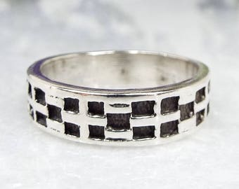 Vintage / Sterling Silver Checker Board  Engraved Wide Band Stacking Ring Size M1/2