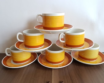Gefle Stina coffee cup + saucer. Orange yellow retro pattern. 2 coffee cups with saucers! Midcentury Sweden.
