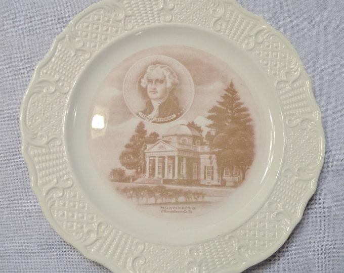 Vintage Canonsburg Decorative Plate Monticello Thomas Jefferson Virginia Travel Souvenir PanchosPorch
