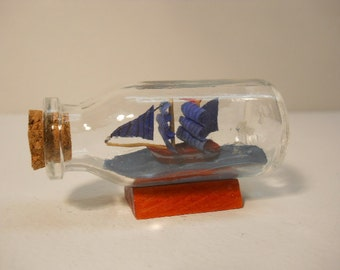 Vintage Small Glass Ship in the Bottle with Cork n150