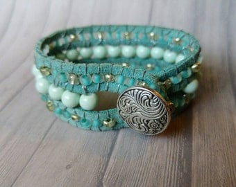 Three row turquoise and silver beaded bracelet