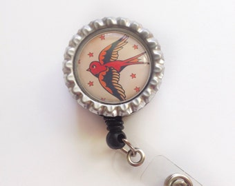 Retractable Badge Reel||Sparrow Bird||Tattoo Art||ID Name Tag||Badge Clip||Holder||Doctor||Medical||Nurse||Student||Office||Gift