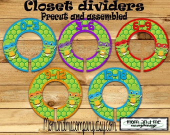 Baby Ninja dividers Custom closet dividers Clothes Dividers Size Dividers infant Rod Hangers Turtle Baby Closet Organizer PRECUT Assembled