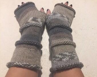 fingerless gloves Knit Fingerless gloves  Mittens  Long Arm Warmers Boho Glove Women Fingerless Wrist multicolored gloves Ready to ship!