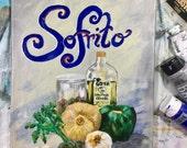 "Sofrito Original Acrylic Painted Canvas 11""x14""x1/2"", Cuban Kitchen decor"