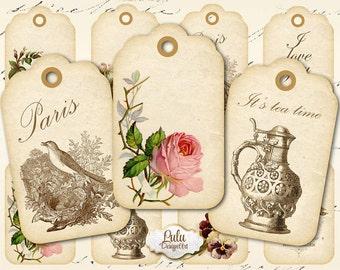 Printable gift tags, Digital Collage Sheet - Printable Tags - Gift Tags- Vintage Tags - Digital Cards, decoupage paper, vintage cards