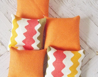 Miniature doll house 12th scale sofa or scatter cushions x  5 modern collection orange
