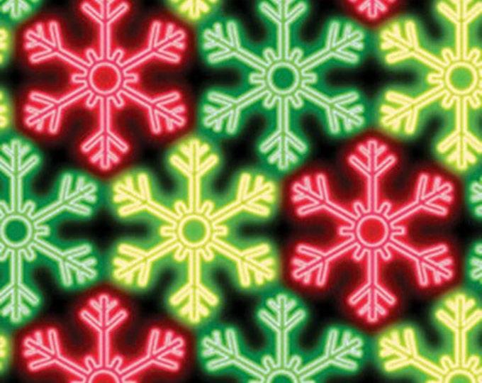 Half Yard Christmas Lights - Snowflake Glow in Red Green Multi - Cotton Quilt Fabric - Maria Kalinowski - Benartex Fabrics - 4846-99 (W3490)