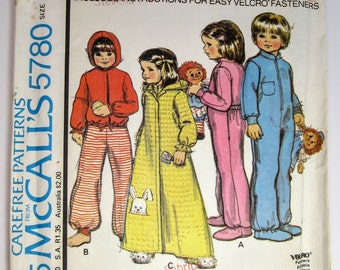 McCall's 5780 Children's Drop Seat Pajamas and Robe Sewing Pattern Size 6 Uncut