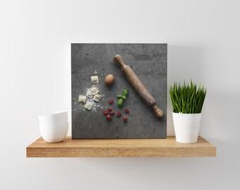 pasta v. two // food photography print // canvas wall art // kitchen wall art // dining room wall art // rustic wall art // italian food