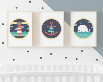 Triptych Sailor, illustration poster pirate whale lighthouse wall decoration baby kids nursery