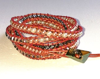 Rose-gold Swarovski Crystal, Chan Luu style leather wrap bracelet