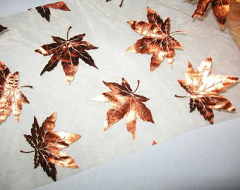 Maple leaves Tulle, copper color, sheer, shimmery, embossed with, fall decoration,  wreaths, crafting, Autumn crafts
