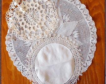 Vintage White Doilies, Set of Three