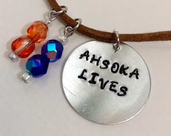 Ahsoka Necklace- Star Wars The Clone Wars/Rebels Ahsoka Tano Lives Stamped Jewelry