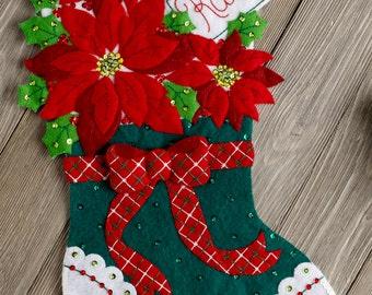 "Bucilla Christmas Poinsettia ~ 18"" Felt Stocking Kit #86705 Flowers Green, Red DIY"