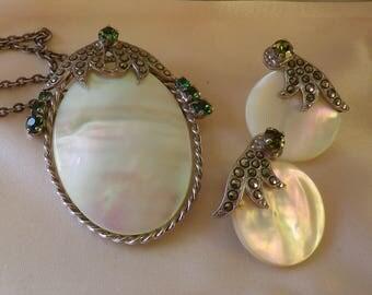 Vintage Marcasite MOP Necklace Pendant Brooch Emerald Green Rhinestones Sterling Chain