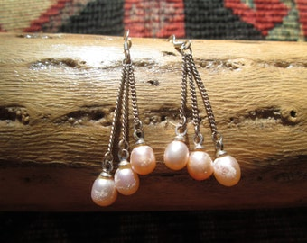 Pink Freshwater Pearls and Sterling Silver Dangle Earrings