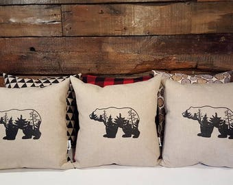 Cushion bear forest. collaboration. illustration. screen printed. made by hand. bear. native