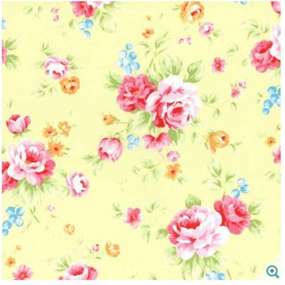Shabby chic floral fabric yellow floral fabric lecien for Yellow nursery fabric