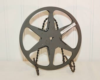 Vintage Bell & Howell Company Metal Film Reel (c. 1950's) Holds 400 Feet of 8mm Film, Home Movies, Industrial Home Decor, Upcycle