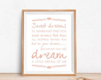 Dream A Little Dream of Me // Art Print // Nursery Decor // Baby Shower Gift // 4 Color Options // Home Decor // Song Lyrics