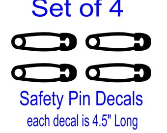 Set of 4 Safety Pin Decals Great for Cars, Phones and Windows - Select Color