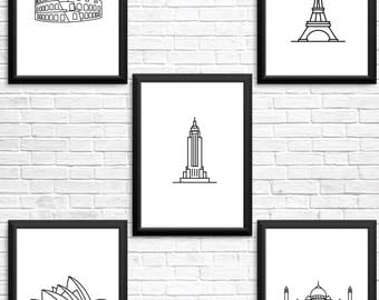 Set of 5 Instant download modern line illustration, minimalism, home gift, minimalistic digital art, download, printable art