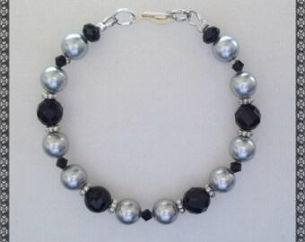 black bracelet, swarovski bracelet, swarovsk, silver, silver pearls, black and silver