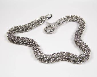 Flat Full Persian 5 in 1 Wallet Chain, Stainless Steel, Chainmaille Biker Wallet Chain, Trouser Chain, Biker Chain Belt, Swivel Clasp