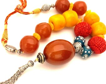 """Ethnic Tribal Necklace Dark Honey Oval Egg Round Pressed Bakelite Type Beads Carved Cannibar Clay Resin Amber Butterscotch Long 18.0"""""""