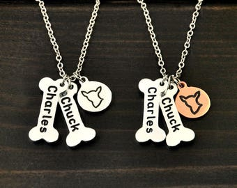 Personalized Chihuahua necklace Dog Bone Charm Dog Necklace Pet Memorial Gift Dog Lover Gift