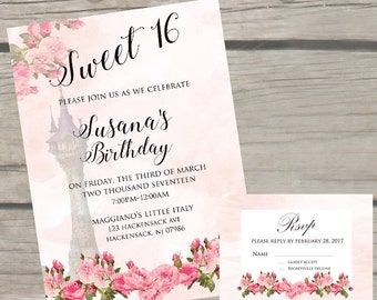 Disney Theme Sweet 16 Birthday Invitations