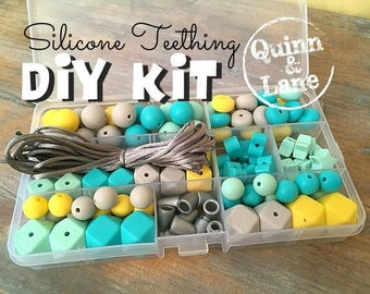 Silicone Teething DIY Kit - Silicone Beads & Supplies - Make Your Own Baby Chew Jewelry Teething Necklace - Mint/Turquoise/Yellow/Moon (HS)