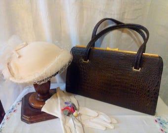 Vintage Croc handbag 1950s faux brown